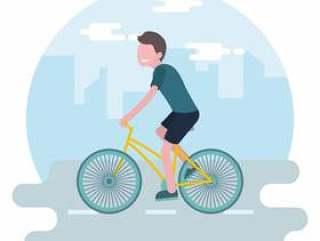 在镇传染媒介例证的骑马自行车