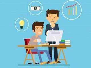 商人与创造性的想法项目上的团队合作分析公司财务。