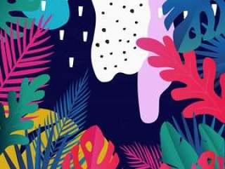 热带丛林离开背景,异乎寻常的夏天艺术印刷品