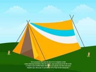 帐篷露营的插图