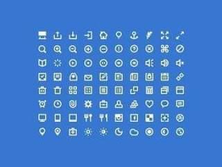 80枚白色实用Web设计图标/PSD原设计稿文件