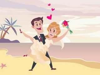 海滩婚礼仪式矢量