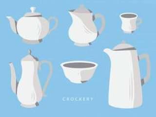 陶器设置矢量平面插画