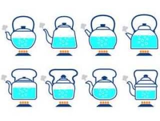 与沸腾的水图标矢量的水壶