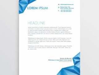 抽象的蓝色三角风格信笺设计