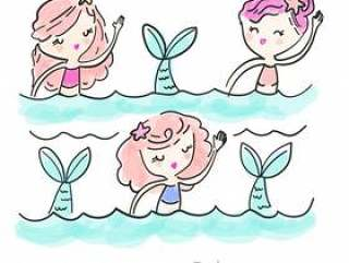 手绘制的美人鱼矢量t恤印花