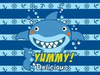 美味的可口鲨鱼孩子设计传染媒介