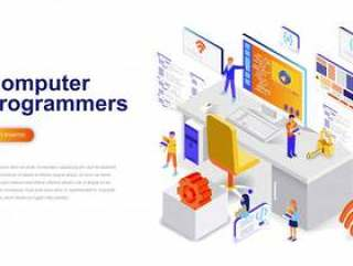 计算机程序员现代平面设计等距概念插画网页模板矢量素材下载