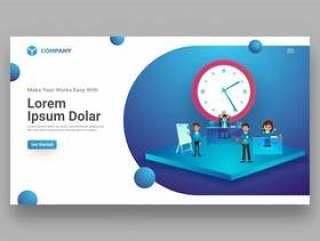 时间管理概念登陆页面设计网页模板矢量素材下载