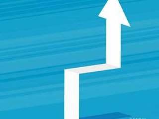 上升在蓝色背景上的白色3d箭头