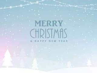 圣诞快乐圣诞庆祝背景与雪和树木