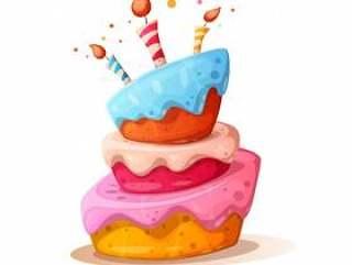 动画片与蜡烛的蛋糕例证