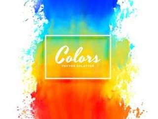 多彩的飞溅水彩颜料墨水背景