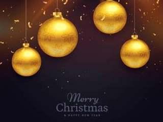 圣诞节节日庆祝卡设计与金球12月