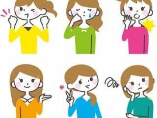 女性的面部表情设置2