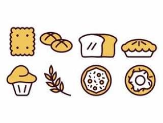 烘烤和面包店图标包