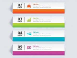 信息图表标签纸索引与6数据模板。