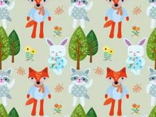 可爱的动物卡通森林无缝模式。