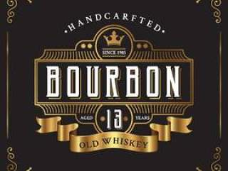 复古框架标签设计。适合威士忌和葡萄酒标签
