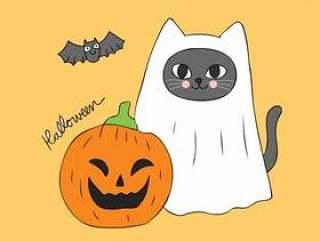 卡通可爱万圣节鬼猫和南瓜矢量。