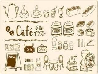 手写的咖啡馆的插图