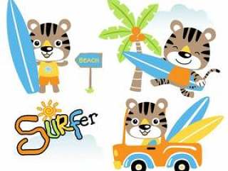Vector set of funny cat the surfboarder