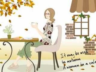 一个女人放松在一家咖啡馆的插图