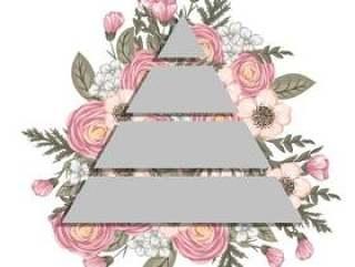 与几何元素的花卉背景设计