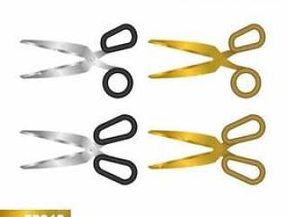 现实3D剪刀金属和金子