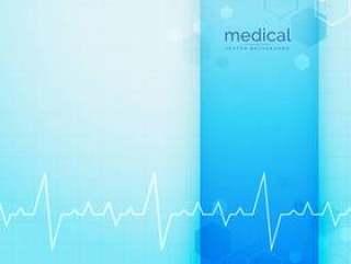 蓝色的医疗和科学背景与心跳线