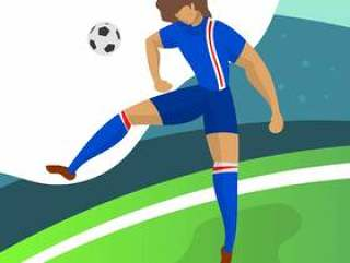 现代极简主义冰岛足球球员前锋为世界杯2018标题球与渐变背景矢量图