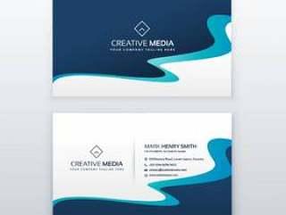 令人敬畏的蓝色波浪名片设计为您的品牌