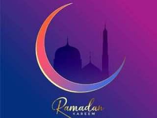 豪华斋月贾巴尔背景与月亮和清真寺