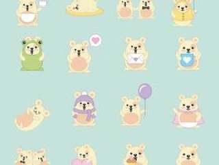 卡哇伊mouses许多活动动物卡通
