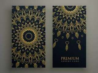 黑暗的曼荼罗卡或横幅设计与金色的装饰性装饰