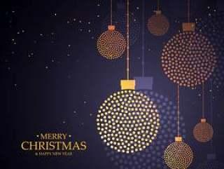 用小圆点做的创造性的圣诞节球设计