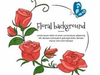与蓝色蝴蝶的花卉玫瑰框架