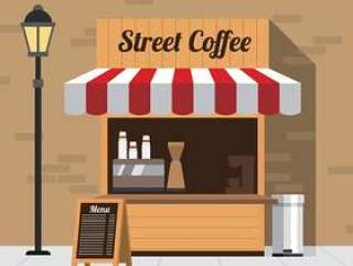 街头咖啡让步 矢量