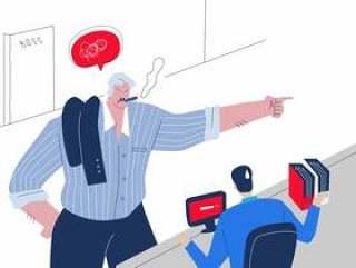 呼喊在雇员传染媒介平的例证的恼怒的肥胖上司