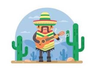 的墨西哥人弹吉他的插图