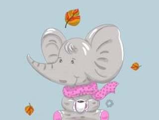 手拉逗人喜爱的婴孩大象和秋天的动画片