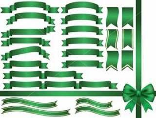 一套各色绿色丝带。