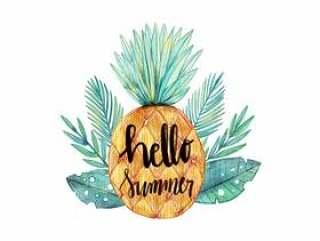 你好夏天水彩菠萝与热带树叶矢量