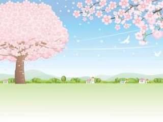 在樱花花瓣飘舞的季节风中