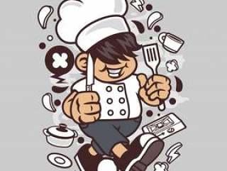 厨师小孩卡通
