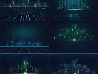 6款电子科技感信息未来城市房地产发展会议背景板底纹AI矢量分层素材