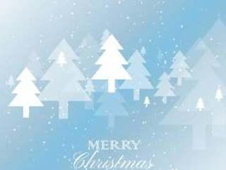 在多雪的背景上优雅的圣诞树设计