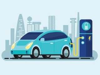 在充电器站充电的蓝色电动汽车的平面向量插图