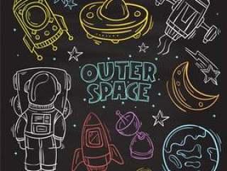 手绘集可爱涂鸦元素。外层空间,宇航员和太空船