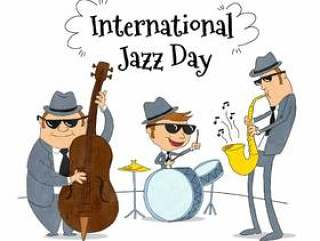 爵士乐队演奏音乐身穿灰色西装和黑色太阳眼镜